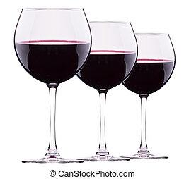 vidrio, aislado, rojo, vino