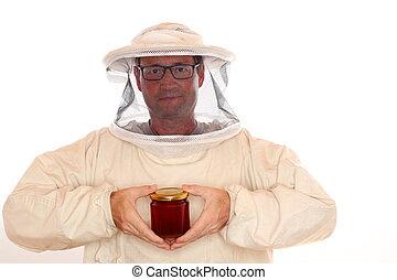 vidrio, apicultor, miel