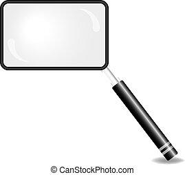 vidrio, aumentar, rectangular