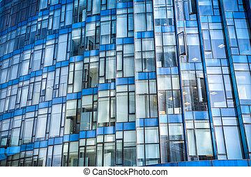 vidrio azul, edificio moderno, primer plano
