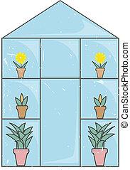 vidrio azul, grunge, invernadero, luz