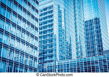 vidrio azul, rascacielos