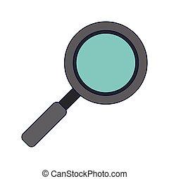 vidrio azul, símbolo, líneas, aumentar