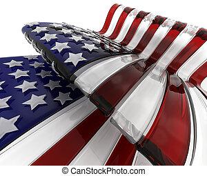 vidrio, bandera estadounidense