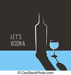 vidrio, banner., botella, vodka, azul