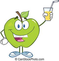 vidrio, bebida, manzana, tenencia