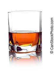 vidrio, blanco, aislado, whisky