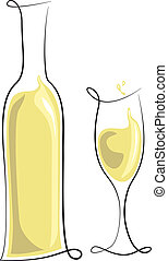 vidrio, blanco, botella, vino
