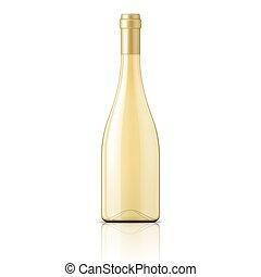 vidrio, blanco, vino, botella, llenado