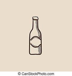 vidrio, bosquejo, icon., botella