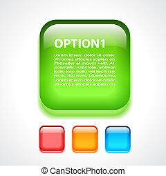 vidrio, botón, opción