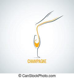 vidrio, botella champaña, plano de fondo