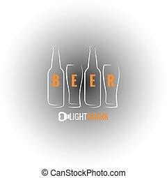 vidrio, botella de cerveza, plano de fondo, florido