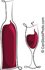 vidrio, botella roja, vino