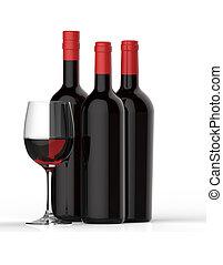vidrio, botellas, rojo, vino