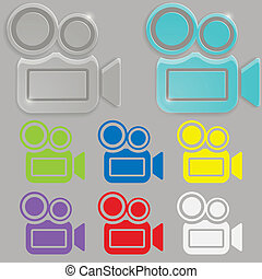 vidrio, cámara, vídeo, icono