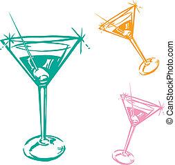 vidrio, cóctel, ilustración
