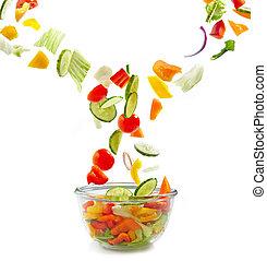 vidrio, caer, tazón, vegetales, fresco