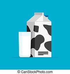 vidrio, cartón, leche