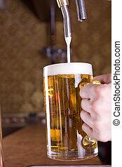 vidrio, cerveza, bar