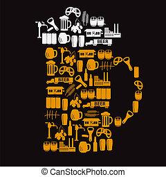 vidrio, cerveza, eps10, como, iconos