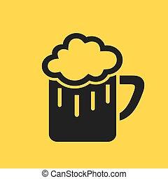 vidrio, cerveza, pictogram