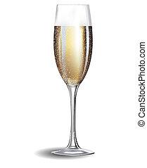 vidrio, champaña, aislado