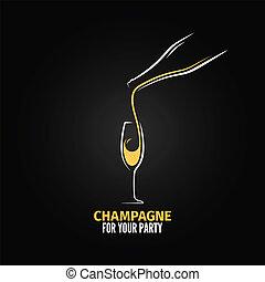vidrio champaña, botella, diseño, plano de fondo
