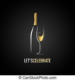 vidrio., champaña, diseño, botella, plano de fondo