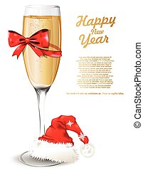 vidrio, champaña, nuevo, plano de fondo, año