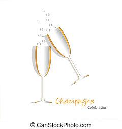 vidrio, champaña, recortar