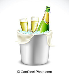 vidrio champaña, y, botella, en, cubo