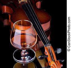 vidrio, coñac, trago, violín