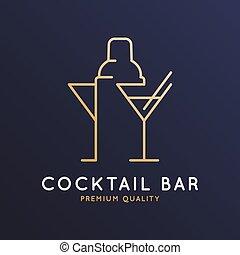 vidrio, coctelera, cóctel, logotipo, barra