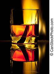 vidrio, con, alcohol