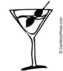 vidrio, con, martini