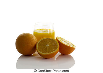 vidrio, con, naranja fresca, jugo