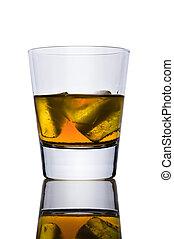 vidrio, con, un, alcohol, y, hielo