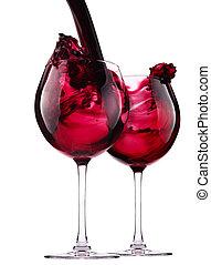 vidrio, con, vino rojo, salpicadura
