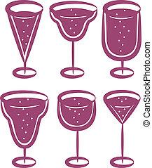 vidrio, conjunto, af, vino