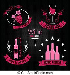 vidrio, conjunto, botella de vino, etiqueta