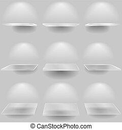 vidrio, conjunto, estantes