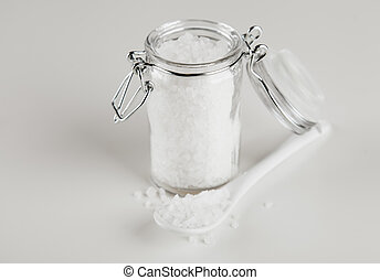 vidrio, contenedor, sal