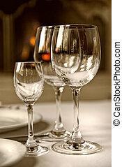 vidrio, copas, tabla