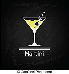 vidrio, cover., martini, ilustración, menú