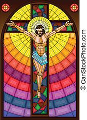 vidrio, crucifixión, manchado, pintura