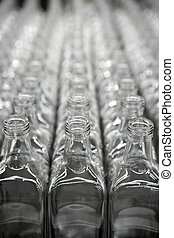 vidrio, cuadrado, filas, transparente, botella