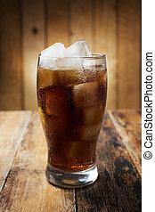 vidrio, cubos, hielo,  cola