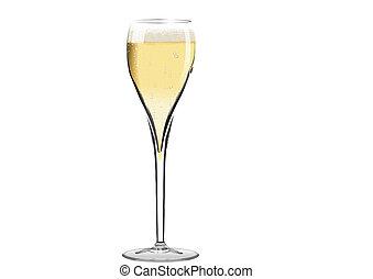 vidrio, de, champange