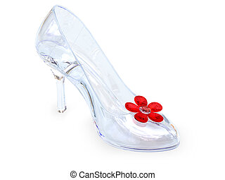 vidrio de cristal, hembra, zapato